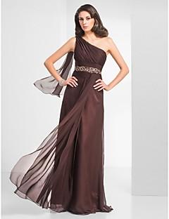 halpa -Kuori / pylväs yksi olkalaatan pituus sifonki prom mekko, jossa helmikoristelu ts couture®