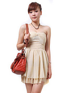 cheap Sale-Women's Cute Loose Sheath Skater Dress - Solid Colored, Pleated