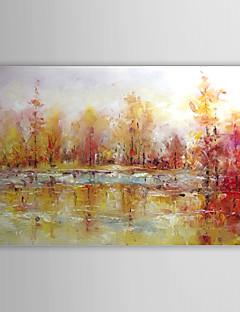 tanie Pejzaże abstrakcyjne-Hang-Malowane obraz olejny Ręcznie malowane - Krajobraz Nowoczesne Brezentowy / Rozciągnięte płótno