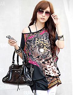 baratos -Mulheres Camiseta Casual Simples / Moda de Rua Verão,Estampado Azul / Rosa / Laranja Meia Manga