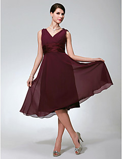A-Line V-neck Knee Length Chiffon Bridesmaid Dress with Ruching by LAN TING BRIDE®