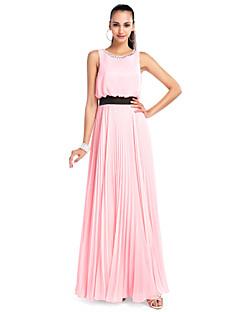 billiga Balklänningar-A-linje Prydd med juveler Golvlång Chiffong Bal / Formell kväll Klänning med Kristalldetaljer / Plisserat av TS Couture®