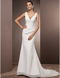 cheap Wedding Dresses-Sheath / Column Plunging Neckline Court Train Chiffon Over Satin Custom Wedding Dresses with Side-Draped by LAN TING BRIDE®
