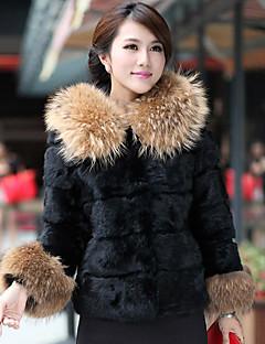 billige Outlets-Langærmet Hood Raccoon Fur & kaninpels Casual / Party Jacket