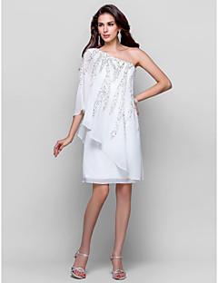 billige Paljettkjoler-Kappe / kolonne en skulderknelengde chiffongraderingskjole med beading av ts couture®