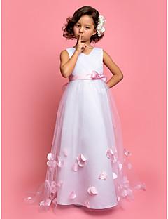 baratos Casamentos Temáticos-Linha A Cauda Escova Vestido para Meninas das Flores - Cetim / Tule Sem Manga Decote V com Laço(s) de LAN TING BRIDE®