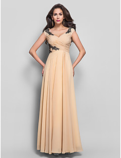 cheap -Sheath / Column V-neck Floor Length Chiffon Formal Evening Military Ball Dress with Appliques Criss Cross by TS Couture®