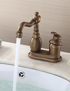 アンティーク バー/準備 デッキマウント セラミックバルブ 二つ シングルハンドル二つの穴 for  アンティーク真鍮 , 水栓