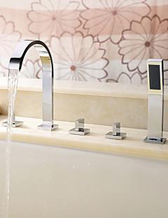 billige Romersk- bad-Moderne Romersk kar Utbredt Hånddusj Inkludert Keramisk Ventil Fire Huller Tre Håndtak fem hull Krom, Badekarskran
