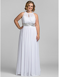 cheap Plus Size Dresses-Sheath / Column High Neck Floor Length Chiffon Prom Dress with Crystal by TS Couture®