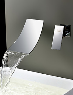 billige Sprinkle® Servantkraner-Lightinthrbox Sprinkle® Baderomskraner - Moderne Rustfritt Stål Foss / Utbredt / Veggmontering To Huller