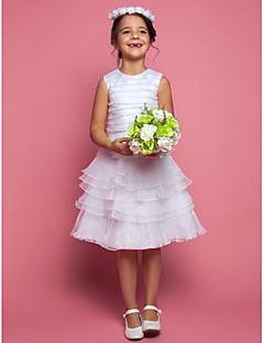 baratos Vestidos de Dia-Tubinho Longuette Vestido para Meninas das Flores - Organza Sem Manga Decorado com Bijuteria com Franzido de LAN TING BRIDE®