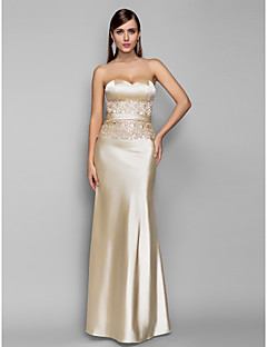 baratos Vestidos de Formatura-Sereia Decote Princesa Longo Cetim Elástico Frente Única Evento Formal Vestido com Renda de TS Couture®