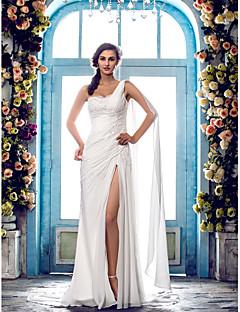 billiga Åtsmitande brudklänningar-Åtsmitande Enaxlad Svepsläp Chiffong Bröllopsklänningar tillverkade med Bård / Spetsinlägg av LAN TING BRIDE®