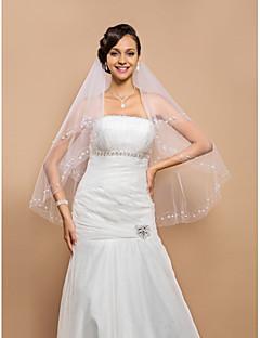 Menyasszonyi fátyol Kétkapcsos Ujjakig érő fátyol Gyöngydíszítésű szegély 25,59 hüvelyk (65 cm) Tüll Fehér ElefántcsontszínA-vonalú,