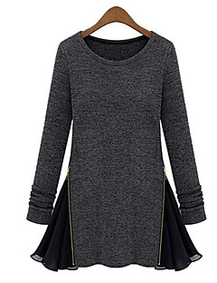 Women's Casual/Daily Simple All Seasons / Winter T-shirt,Patchwork Round Neck Long Sleeve Black / Gray Medium