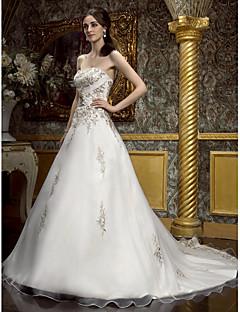 billiga Imperiumbrudklänningar-A-linje Hjärtformad urringning Hovsläp Chiffong Bröllopsklänningar tillverkade med Bård / Broderad / Blombrosch i kristall av LAN TING BRIDE® / Brudklänning i färg / Glittra och gläns