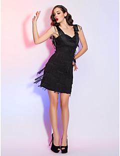 billige Kjoler i plusstørrelse-Tube / kolonne stropper Kort / mini Chiffon / Sateng Cocktailfest / Ball / Ferie Kjole med Drapering / Kryssdrapering av TS Couture® / Liten svart kjole