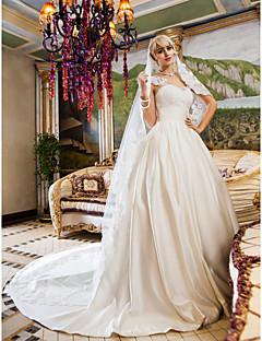 billiga Balbrudklänningar-Balklänning Queen Anne Kapellsläp Spets Satäng Bröllopsklänning med Rosett Applikationsbroderi Bälte / band Knapp av LAN TING BRIDE®