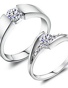 Yüzükler Düğün / Parti / Günlük / Spor Mücevher alaşım / Bakır / Platin Kaplama Çift YüzükleriAyarlanabilir Gümüş