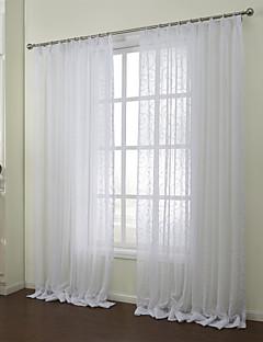 billige Gjennomsiktige gardiner-To paneler Window Treatment Rustikk Soverom Poly/ Bomull Blanding Materiale Gardiner Skygge Hjem Dekor For Vindu