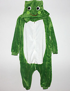 billige Kigurumi-Kigurumi-pysjamas Frosk Onesie-pysjamas Kostume Flanell Fleece Cosplay Til Barne Pysjamas med dyremotiv Tegnefilm Halloween Festival / høytid