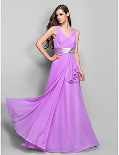 Schede / kolom v-hals vloerlengte chiffon stretch satijn prom jurk met kristal gedetailleerd door ts couture®