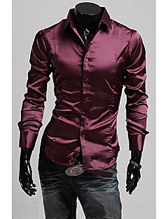 Menns Stand Collar Casual langermet skjorte