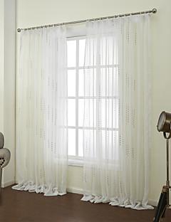 baratos Coleções de Janela-Barra no Interior Anéis Presilhas Duplo Plissado Dois Painéis Tratamento janela Neoclassicismo, Jacquard Inovador Quarto Poliéster