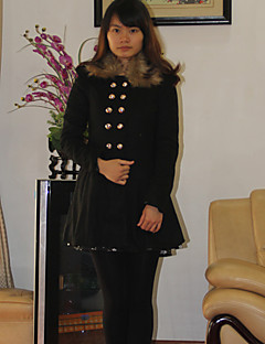 Flower Love Fashion Fur Collar Solid Color Tweed Coat(Black)
