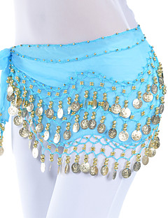 cheap Belly Dance Wear-Belly Dance Belt Women's Training Chiffon Beading Coins 1 Piece Hip Scarf