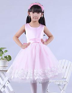 billige Skjørt-A-line knelengde blomst jente kjole - tulle ermeløs scoop hals med bue