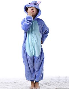 billige Barnekostymer-Barne Kigurumi-pysjamas Monster Blå Monster Onesie-pysjamas Flanell Fleece Blå Cosplay Til Gutter og jenter Pysjamas med dyremotiv Tegnefilm Festival / høytid kostymer