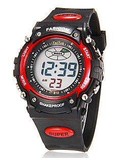 billige Digitalure-Herre Digital Digital Watch Armbåndsur Alarm Kalender Kronograf LCD Gummi Bånd Vedhæng Sort
