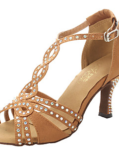 cheap -Women's Latin Shoes / Ballroom Shoes / Salsa Shoes Satin Sandal / Heel Rhinestone Chunky Heel Non Customizable Dance Shoes Bronze
