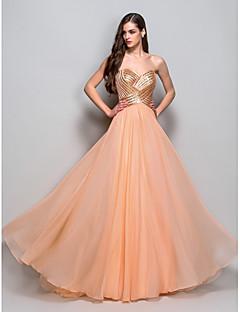 billige Paljettkjoler-A-line prinsesse stroppeløs kjære gulvlengde chiffon prom kjole med drapering av ts couture®