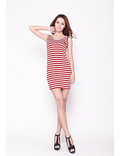 Zoely Sexy Round Neck Contrast Color Stripe Sheath Bow Knee Length Exclude Belt Dress