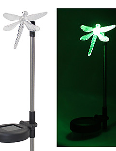 Sett med 2 Hage farge Changing Dragonfly Solar Stake lyss