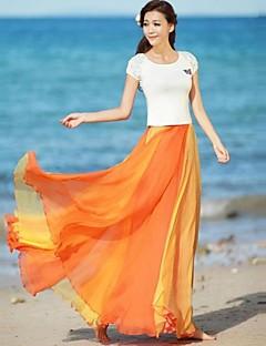 ieftine Fuste Maxi-Femei Multicolor Flare șifon fusta
