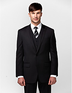 Solid Tailored Fit Wool Polyester Suit - Slim Peak Single Breasted Two-buttons