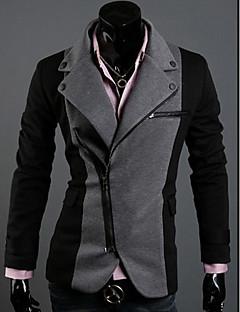 LangTuo Irregular Zipper Design Assorted Color Rome Cloth Slim Blazer(Dark Gray)
