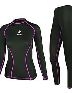 Kadın's Uzun Kol Koşma Sıkıştırma Giysiler Giysi Setleri/Takım ElbiselerNefes Alabilir Hızlı Kuruma Anatomik Tasarım Ultravioleye Karşı
