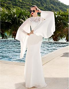 billiga Trumpet-/sjöjungfrubrudklänningar-Åtsmitande Illusion Halsband Svepsläp Spets / Georgette Bröllopsklänningar tillverkade med Spets av LAN TING BRIDE® / Genomskinliga