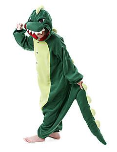 baratos Pijamas Kigurumi-Pijamas Kigurumi Dinossauro Pijamas Macacão Ocasiões Especiais Lã Polar Verde Escuro Cosplay Para Adulto Pijamas Animais desenho animado