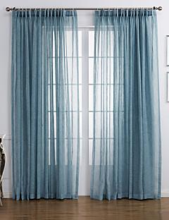 baratos Cortinas Transparentes-Sheer Curtains Shades Sala de Estar Sólido Mistura de Linho e Poliéster