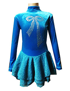 preiswerte Eiskunstlaufkleider-Eiskunstlaufkleid Damen Mädchen Eislaufen Kleider Samt Strass Hochelastisch Leistung Training Eiskunstlaufkleidung Handgemacht Schleife