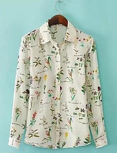 Damen Druck Einfach Lässig/Alltäglich Hemd,Hemdkragen Frühling Sommer Herbst Langarm Dünn