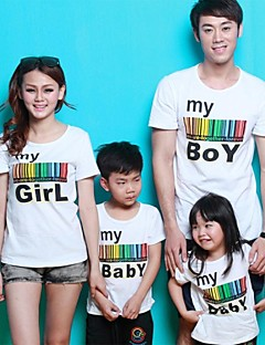 Family's Round Collar Colorful Stripe Letter Print Short Sleeve Casual T-shirt