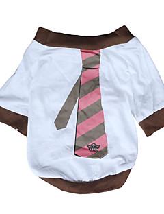 billiga Hundkläder-Hund T-shirt Hundkläder Rand Vit Cotton Kostym För husdjur Herr Dam Ledigt/vardag