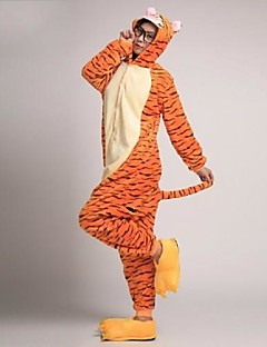 billige Kigurumi-Voksne Kigurumi-pysjamas med tøfler Tiger Onesie-pysjamas Kostume Korallfleece Oransje Cosplay Til Pysjamas med dyremotiv Tegnefilm Halloween Festival / høytid / Jul